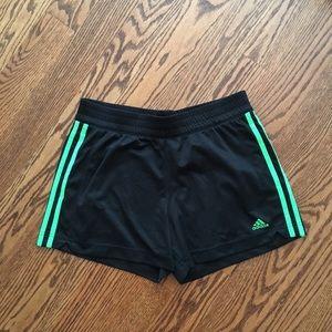 ADIDAS Black Green Shorts MEDIUM